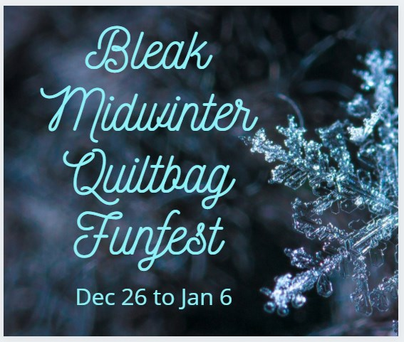Blurred frosty scene in background; snowflake in foreground; text: Bleak Midwinter Quiltbag Funfest Dec 26 to Jan 6