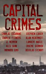 Capital Crimes cover shows city skyline with blood red title and authors' names